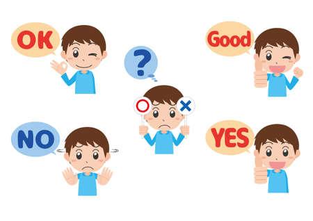 Boy's Hand Sign Set Illusztráció