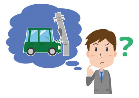 A man who thinks about car accident insurance Ilustrace
