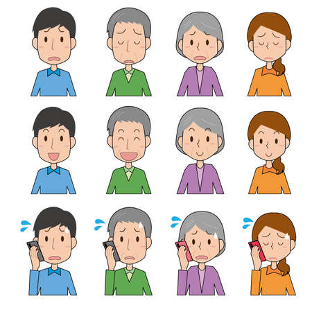 Expression illustration set of young and old men and women