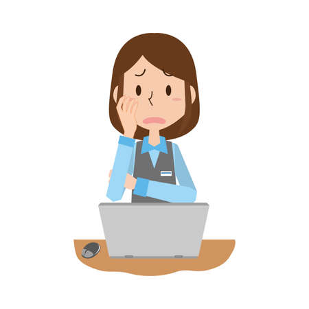 The woman with the pc work  worries