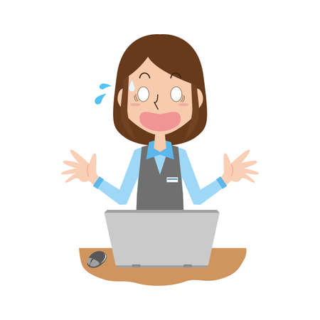 The woman of the computer work is surprised