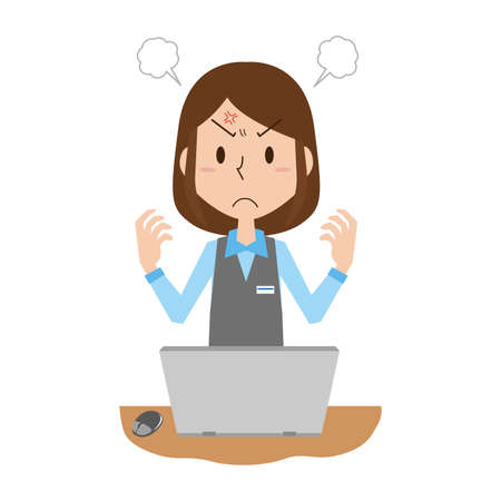 Angry Woman at work 矢量图片