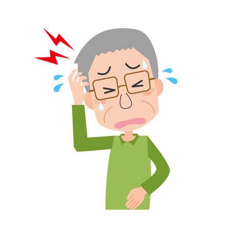 a senior man with a headache
