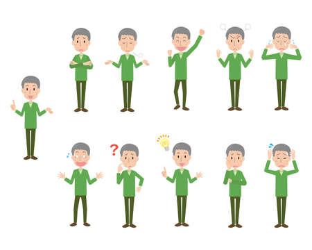 Senior Man's Facial Expression Illustration Set