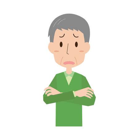 senior man with arms folded Illusztráció