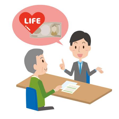 a man who explains insurance to a senior man