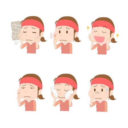 Woman's Skin Trouble Illustration Set
