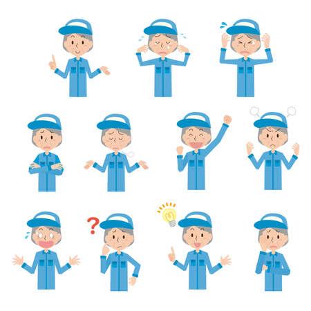 Facial expression illustration set of senior female workers Illusztráció