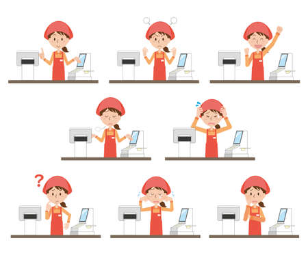 The expression illustration set of the female clerk in charge of the cash register 向量圖像