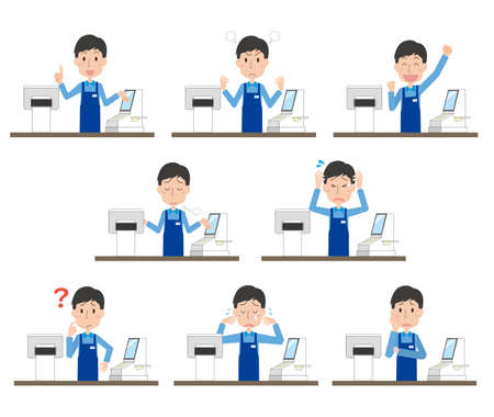 The expression illustration set of the male clerk in charge of the cash register 向量圖像