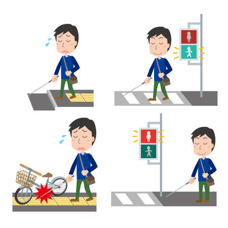 Set illustration of a visually impaired man Vector Illustratie