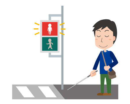 a visually impaired person waiting for a signal