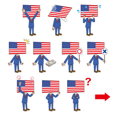 Right-facing set of American flag characters