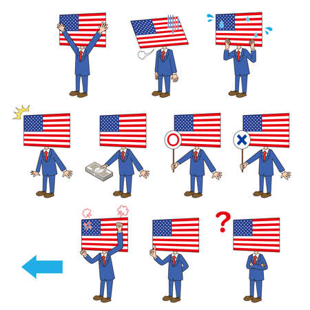 Left-facing set of American flag characters