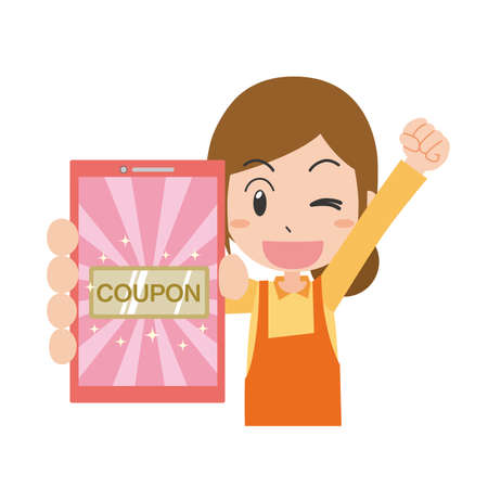 Housewife in guts pose to get coupon on mobile phone and rejoice