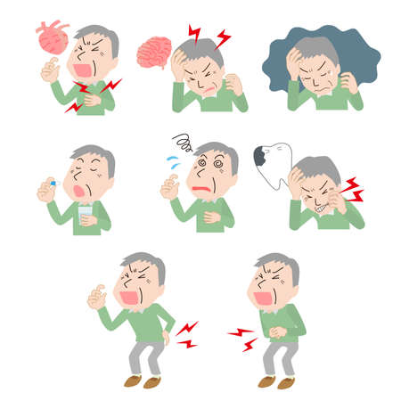 Senior Male Upset Illustration Set