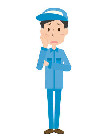 Illustration of a male worker wearing a blue work clothes with a troubled face