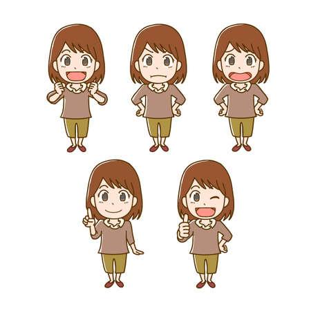 Girl's facial expression illustration set