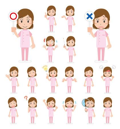 Female medical worker's facial expression illustration set