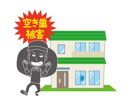 Image illustration of empty house burglary damage