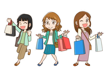 Three women enjoying shopping