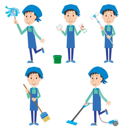 Illustration set of a man cleaning Illusztráció