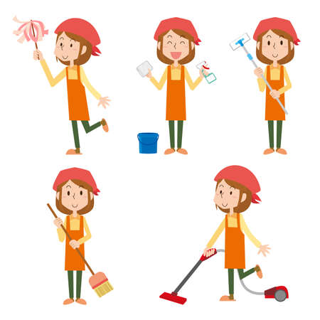 Illustration set of a woman cleaning