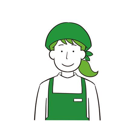 Illustration of supermarket female clerk