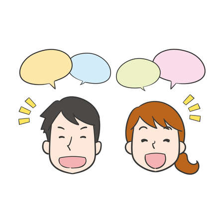 Illustration of young couple's face talking with a smile