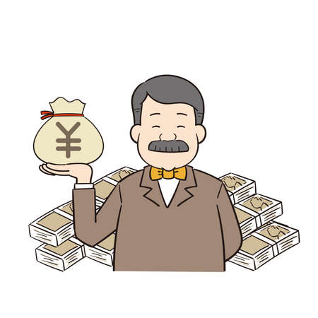 a rich man with a yen currency Векторная Иллюстрация