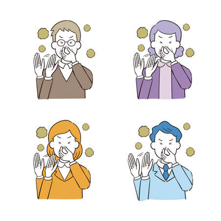 Illustration set of hand drawn style male woman pinching nose to smell Ilustración de vector