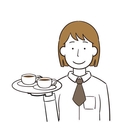 Illustration of a female clerk carrying a drink