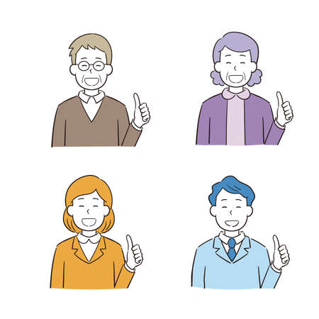 Hand drawn style male woman illustration set j to give thumbs up