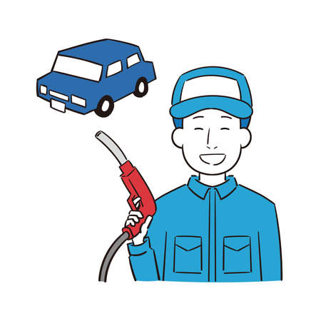 Illustration of a male gas station clerk refueling