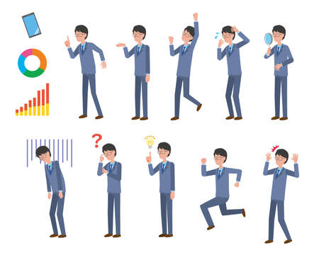 Various pose illustration sets for male office workers in suits Vektoros illusztráció