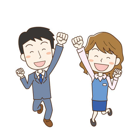 Illustration of an office worker man and woman who are happy to jump with their fists