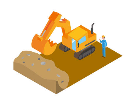 Excavators and workers to work with