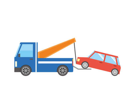 Image of a car carried by tow car