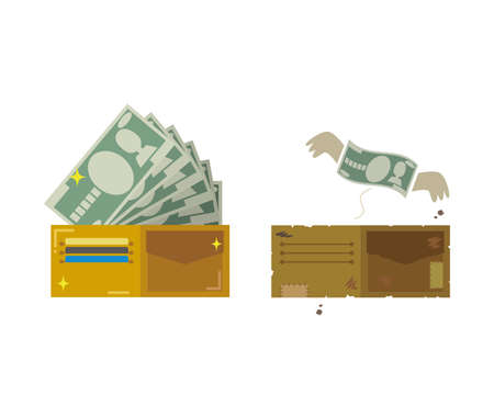 Rich wallets and poor wallets Stock Illustratie