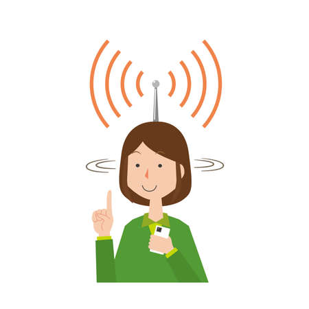 A woman who catches information by stretching an antenna