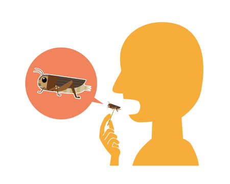 Illustration of a person eating edible crickets