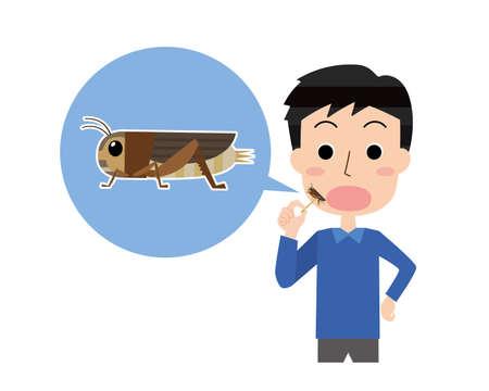 Illustration of a human eating an edible cricket