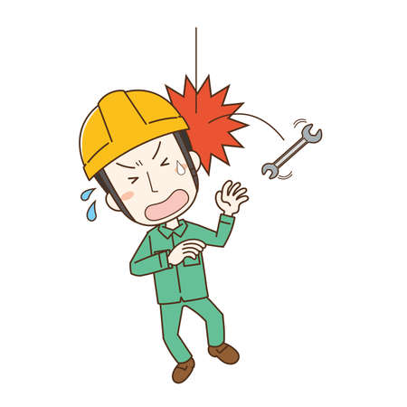 a worker who is injured when a fallen tool hits his head