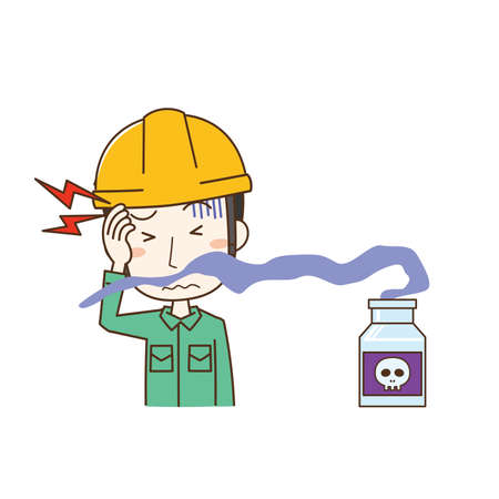 Male worker who becomes unwell due to chemical odor Stock Illustratie