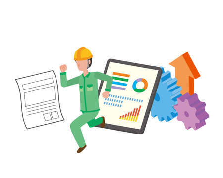 Illustration of factory worker moving from paper to digital for er efficiency