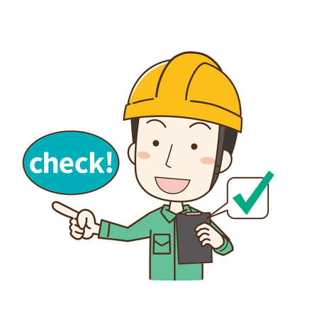 a male worker wearing a helmet who checks with an inspection slip