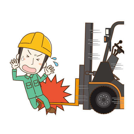 Illustration of an accident in contact with a forklift Stock Illustratie