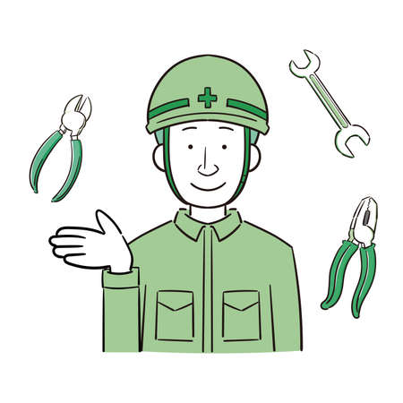 Illustration of a worker and tool wearing a helmet Stock Illustratie