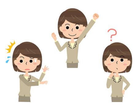 Pose set of female office worker in suit Vector Illustratie
