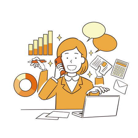 Illustration of hand-drawn female office worker working efficiently